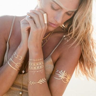 Metāliskie tetovējumi. Stilīgi un spīdīgi zelta - sudraba uzlīmējami tetovējumi