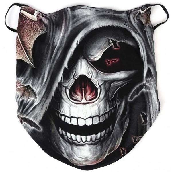 Baikeru sejas maska - lakats ar miroņgalvu, spīd tumsā