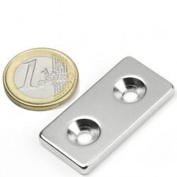 Neodīma magnēts pieskrūvējams 40x20x4mm N35 12kg