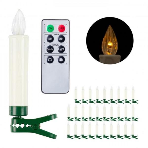 LED eglīšu sveces ar pulti, 30 gab.