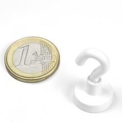 Neodīma magnēts ar āķi 16.3mm 6kg N38 balts