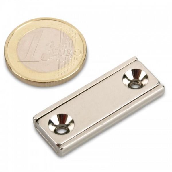 Neodīma magnēts pieskrūvējams 40x13.5x5mm N35 15kg