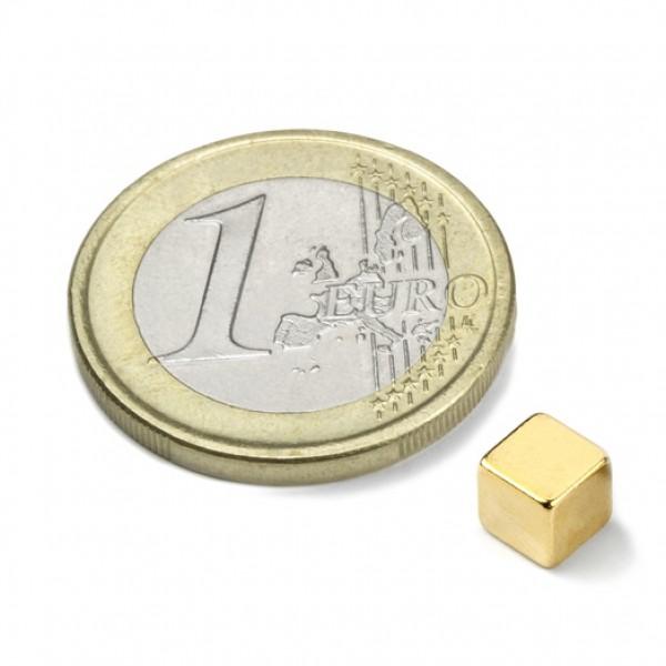 NOCENOTS! Neodīma magnēts 5mm kubs, zelta N35